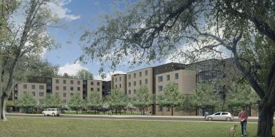Architect's rendering of Penn State Abington student apartments.