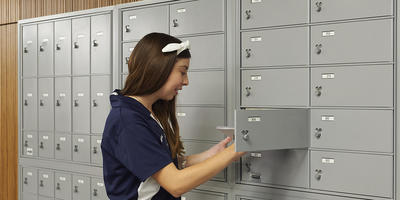 Student at mailboxes